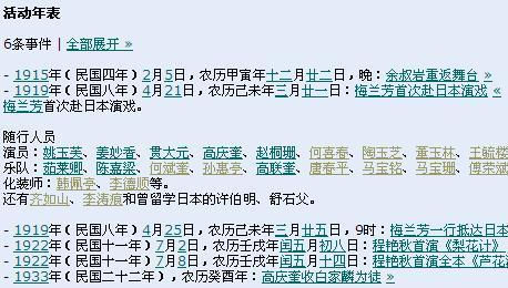 活动年表的屏幕截图,其中第二条被单独展开